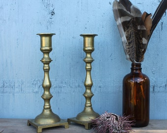 Pair of Brass Spindle Candlesticks