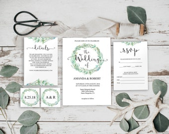 Greenery Wedding Invitation, Wedding Invitation Template, Printable Wedding, Greenery Wedding, Greenery Invitation, Invitation Set, BD-6029