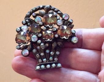 Vintage Aurora Borealis Rhinestone Flower Basket Brooch Pin