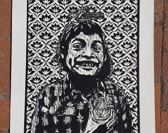 Woodcut Print- Niño con Corazon
