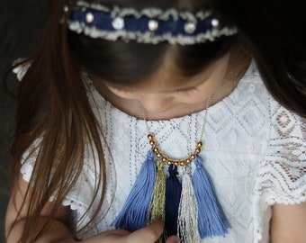 Blue/Gold Tassel Necklace