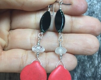 Pink Coral and Moonstone Earrings