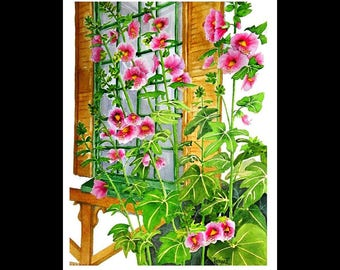 Note Card Set-Window With Hollyhocks-Watercolour
