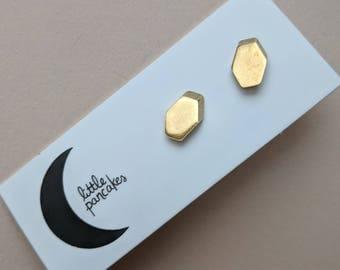 Brass hexagon stud earrings