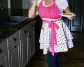 Flirty Chic Retro Apron - Womens Birthday Confetti Pink Polka Dots Sexy Pinup Kitchen Apron with Pocket (DP)