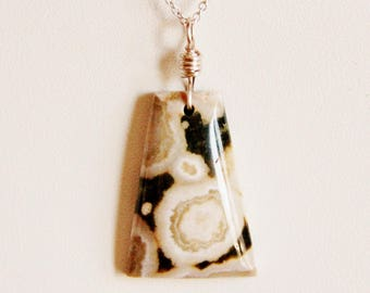 Ocean Jasper necklace, jasper pendant necklace, natural stone necklace, semiprecious necklace, gemstone necklace, druzy pendant, druzy stone