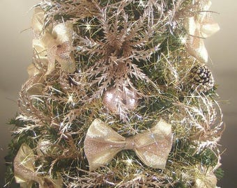 """Rose Gold Pink Mini Tabletop Decorated Christmas Tree - 21"""" - Centerpiece - 50 LED Battery Operated Lights - Tree Skirt & Matching Presents"""
