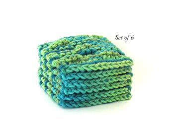 Face Scrubbies Cotton Facial Scrubbie Cosmetic Pads Face Cleaning Pads, Set of 6 Green Blue