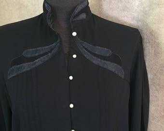 Vintage 80's Black Shirt, Black High Neck Blouse, Small Black Top, Satin Applique, Goth, Victorian, Glam