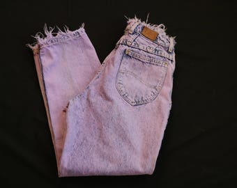 Acid Wash Lee Jeans | 80s vintage cotton denim womens ultra high waist skinny tapered leg hipster rock denim 7 8 9 small medium s m womens