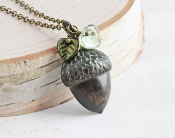 Large Dark Patina Brass Acorn Necklace with Green Leaf Beads