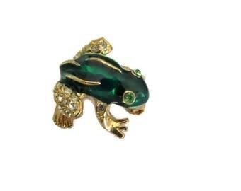 Small Green Frog Brooch, Rhinestone Frog Pin, Frog Lapel Pin, signed roman, green rhinestone eyes, Vintage Retro