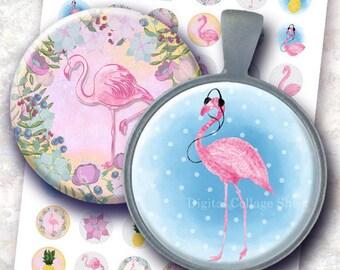 Flamingos 1 inch bottlecaps circle Digital Collage Sheet. Hand drawn exotic tropical. Whimsical  animals. Holidays, pink birds, pinapples