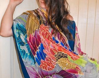 Red Phoenix Scarf, Hand Painted Silk Shawl Wrap, Chiffon Shawl, Hand Painted Silk Scarf, Bird Scarf, Silk Chiffon Scarf, 22x90 inch