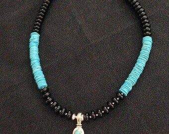 Wooly Mammoth and Turquoise Pendant Necklace