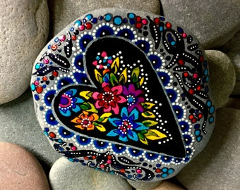 exquisite love / painted rocks/ painted stones/ boho art / hippie art : anniversary gifts  / wedding gifts / gifts of love / heart rocks