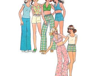 "Simplicity 6952 Girl Halter Top, Cap Sleeve Shirt, Summer Shorts, Straight Leg Pants Size 8 Chest 27"" 1970s Vintage Retro Pattern"