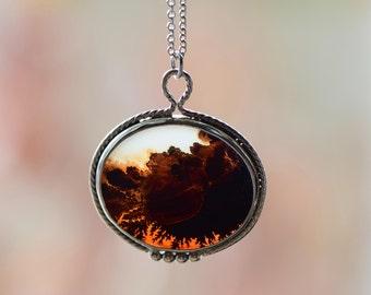 Dendritic Slice Pendant. Sterling Silver Simple Statement Necklace. Dendritic Necklace. Dendritic Agate. Stone Pendant. Boho Rustic