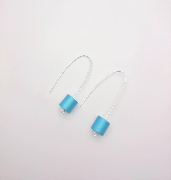 Cylinder Earrings//Long Silver Blue Geometric Earrings//Aluminium anodized tube earrings steel earwires//Modern Minimalist Dangle 3D
