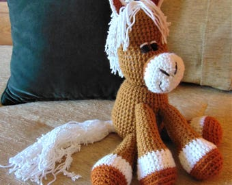 "Crocheted pony horse stuffed animal doll  toy ""Hamilton"""