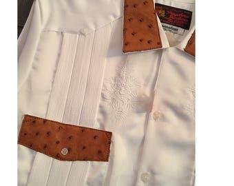 "Vintage Guayabera, White Satin Mexican Wedding Shirt, Ostrich Leather Trim, Size L, Large, Guayaberas Yucatecas, Lamasini, ""Copacabana"", NWT"