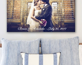 1 year anniversary gift for him, canvas gift for him, wedding vows art, 1 year anniversary, wedding photo gift, special gift for him