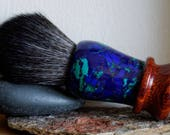 Mixed Media Shaving Brush - Hand-Made with Water Proofed Burmese rosewood and Blue Agate TruStone Handle and a Choice of Knots