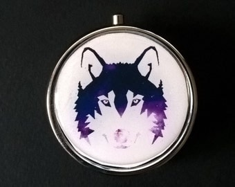 """Pillbox or pill box, jewelry, candy  """" SPACE WOLF """""""
