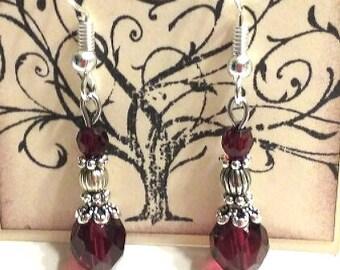 Burgundy earrings, Maroon earrings