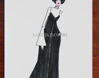 Fashion Illustration Print, Fashion Art, Long dress Black Ink, Wall Art, SandiKim, Gifts