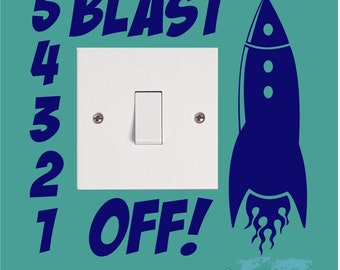 BLAST OFF Rocket Space Planet Girls Kids Childrens Bedroom Nursery Vinyl Matt Wall Light Switch Sticker Surround Decal Transfer *20 colours*