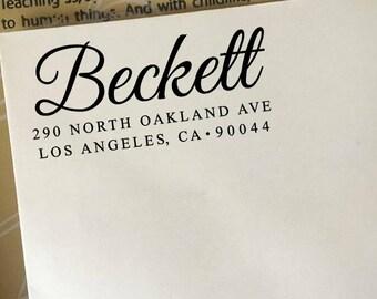 Custom Return Address Stamp, Self Inking Stamp, Wooden Rubber Stamp, Elegant Wedding Address Stamp, Personalized Stamp, Family Name Stamp