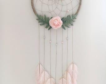 "10"" Pink Floral Dream Catcher"