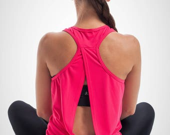 Open Back Top, Backless Yoga Top, Open Back Yoga Tank Top, Women Sports Tank, Open Back Workout Tank, Stylish Yoga Shirt, Dance Shirt