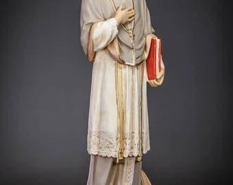"""20.4"""" RARE Saint Francis de Sales Plaster Statue Vintage St Figure"""