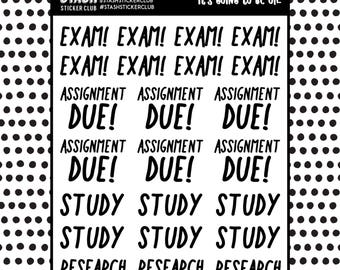 University / College / Highschool Stickers Stickers ( study, exam, assignment due, research)