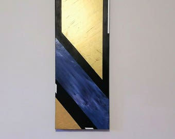 Abstract painting / Art / Gold painting / Black , Gold , Blue , White / Acrylic painting
