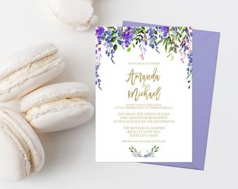 Purple Floral Wedding Invitation Suite Printable Boho Wedding Invite Bohemian Floral Wedding Invitation Watercolor Flowers Lavender Gold 282
