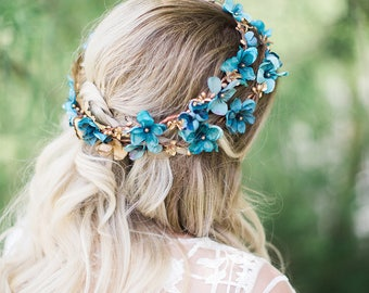 teal flower crown, teal headband, teal wedding headpiece, teal and gold, bridal flower crown, turquoise flower crown, bridal headpiece