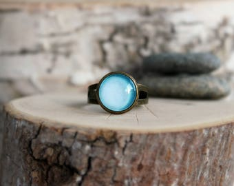 Uranus Ring, Galaxy Ring, Adjustable Ring, Antique Bronze Ring, Glass Cabochon, Galaxy Jewelry