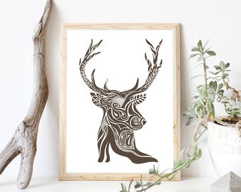 Deer Art Print, Abstract Deer Print // Rustic Cabin Wall Decor, Gifts for Hunters, Husband Gift // Deer Wall Print