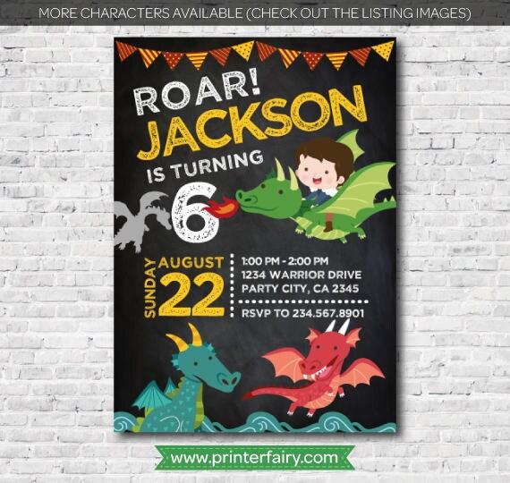 dragon invitation dragon birthday party knight invitation