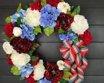 Patriotic Wreath/4th of July Wreath/ Summer Wreath/Hydrangea Wreath/Front Door Wreath/ Farmhouse Wreath/ Grapevine Wreath/Country Wreath