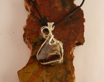 Blue Forest Petrified Wood Wire Wrapped Pendant - Blue Forest Petrified Wood Necklace - Blue Forest Eden Valley, Wyoming-
