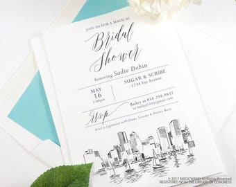 Boston Skyline Bridal Shower Invitations, Boston Wedding, Bridal Brunch, Bridal Luncheon (set of 25 cards & envelopes)