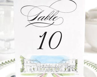 Rosecliff Manor Table Numbers, Rhode Island Wedding Tables (1-10)