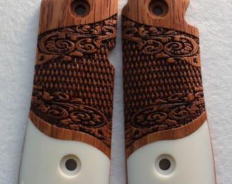 Colt Mustang PocketLite Custom Pistol Grips Exotic Solid Rosewood & Faux Ivory