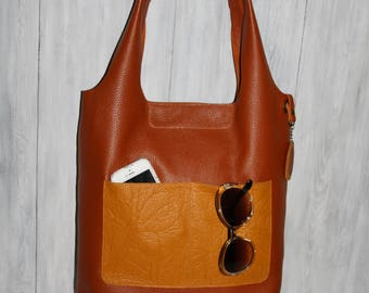 Orange Leather Bag - Brown leather bag -  yellow leather bag- leather handbag handmade - unlined leather bag