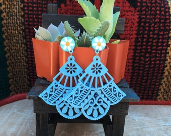 Mexican coco inspired wooden boho hand painted flower hippie gypsy earrings