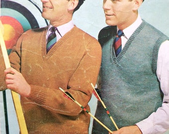 """Vintage knitting pattern 1950's P&B C-274 jumper and pullover 36-46"""" DK"""
